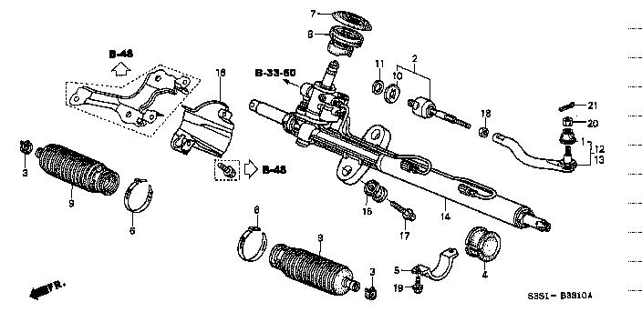 Схемы рулевых реек для honda