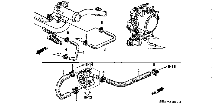 19508-PRB-A00 / 19508PRBA00 / HOSE, THROTTLE BODY INLET / CIVIC 3D