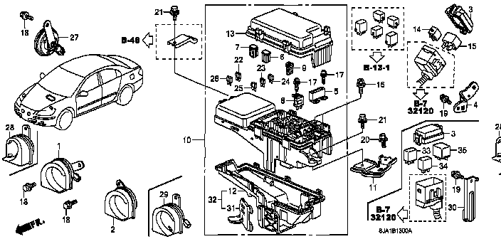 50A//50A 38232-SDA-A11 Genuine Honda Multi Block Fuse B