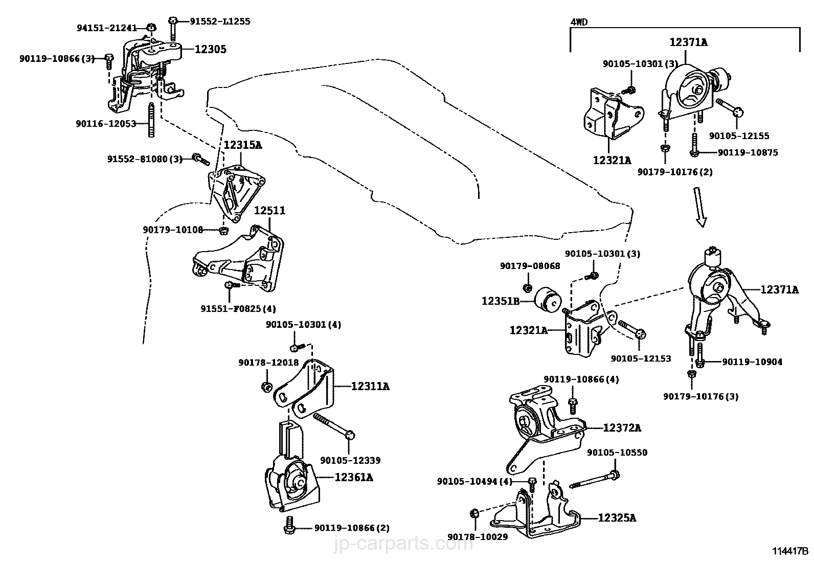 toyota corolla engine insulator diagram mounts