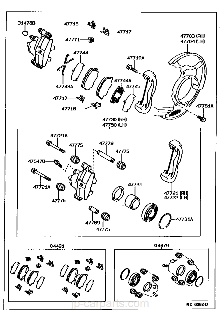 Genuine Toyota 47769-12030 Brake Cylinder Slide Bush