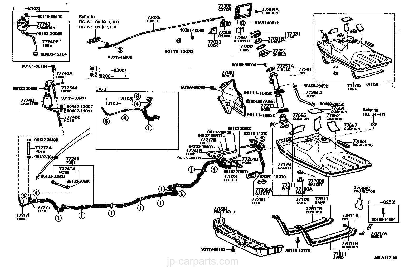 FUEL TANK & TUBE / toyota   part list JP-CarParts com