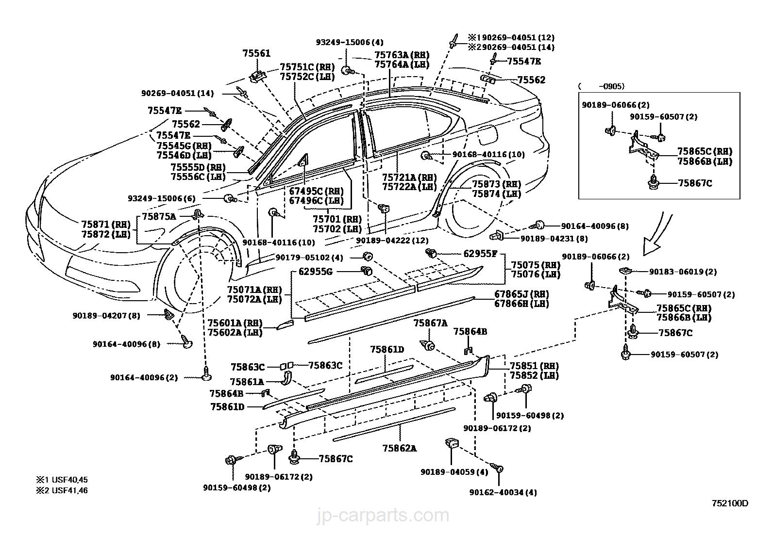 SIDE MOULDING / toyota   part list JP-CarParts.com