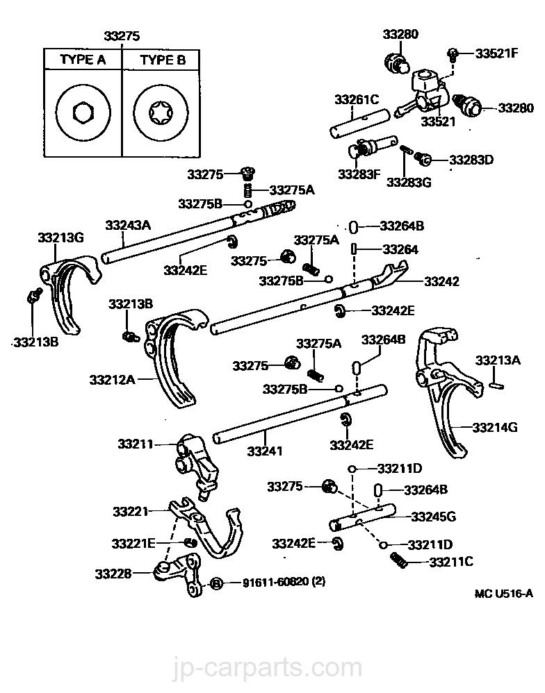 Gear Shift Fork Lever Shaft Mtm Toyota