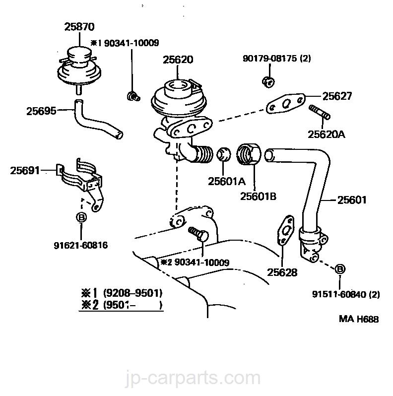 EXHAUST GAS RECIRCULATION SYSTEM / toyota | part list|JP-CarParts com
