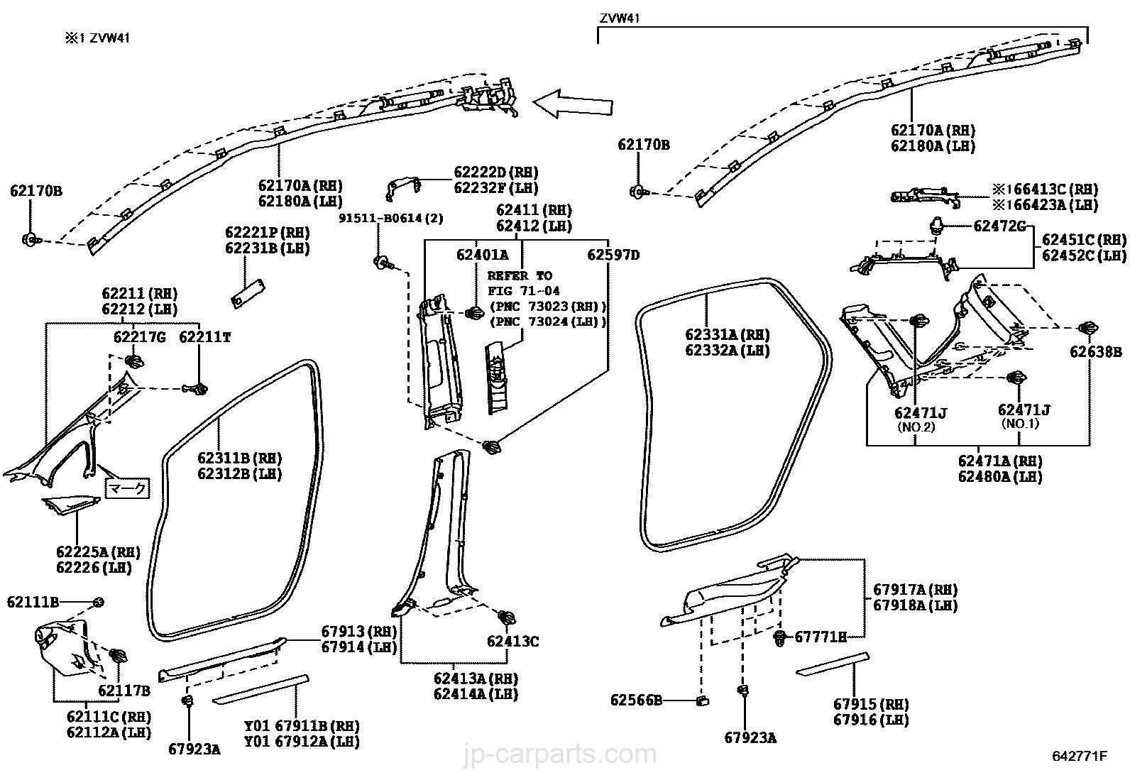 Toyota 62410-47030-A0 Center Pillar Garnish